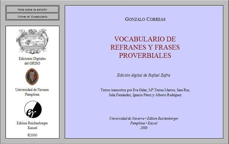 Vocabulario de refranes y frases proverbiales de Correas